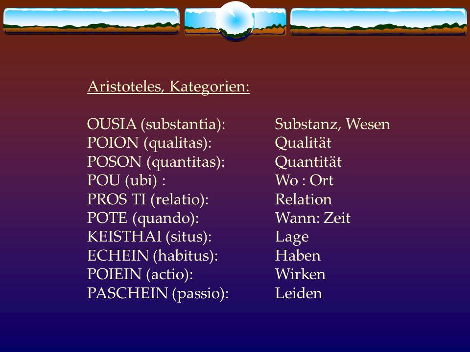 Aristoteles, Kategorien: OUSIA (substantia):Substanz, Wesen POION (qualitas):Qualität POSON (quantitas):Quantität POU (ubi) :Wo : Ort PROS TI (relatio