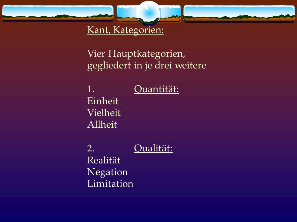 Kant, Kategorien: Vier Hauptkategorien, gegliedert in je drei weitere 1. Quantität: Einheit Vielheit Allheit 2. Qualität: Realität Negation Limitation