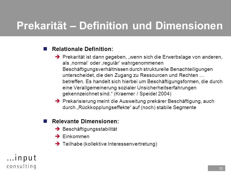 12 Prekarität – Definition und Dimensionen Relationale Definition: Prekarität ist dann gegeben, wenn sich die Erwerbslage von anderen, als normal oder regulär wahrgenommenen Beschäftigungsverhältnissen durch strukturelle Benachteiligungen unterscheidet, die den Zugang zu Ressourcen und Rechten … betreffen.