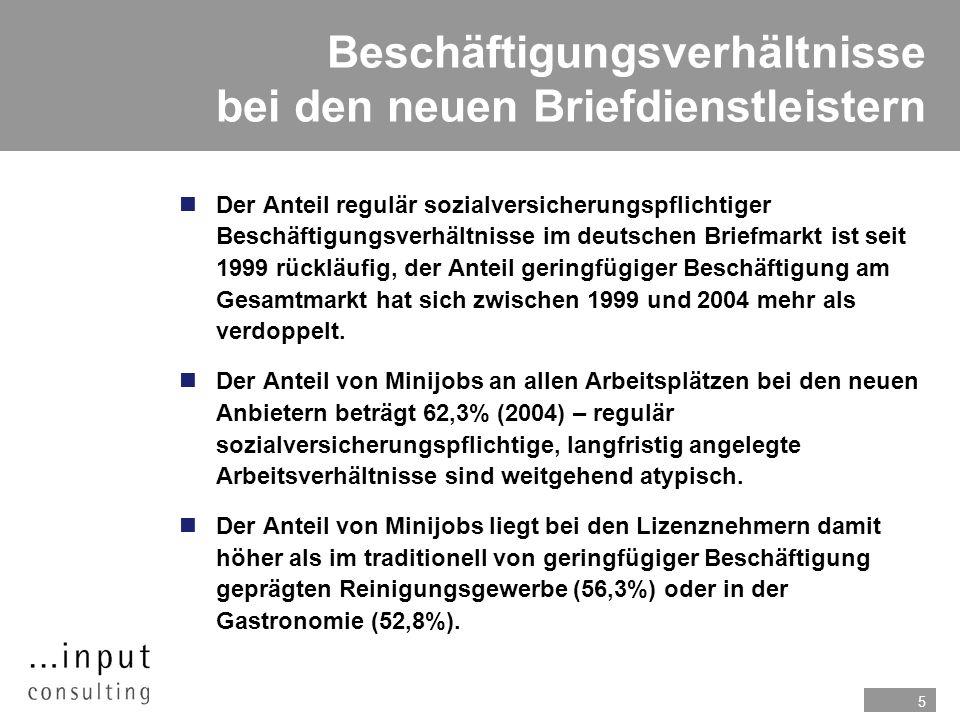5 Beschäftigungsverhältnisse bei den neuen Briefdienstleistern Der Anteil regulär sozialversicherungspflichtiger Beschäftigungsverhältnisse im deutschen Briefmarkt ist seit 1999 rückläufig, der Anteil geringfügiger Beschäftigung am Gesamtmarkt hat sich zwischen 1999 und 2004 mehr als verdoppelt.