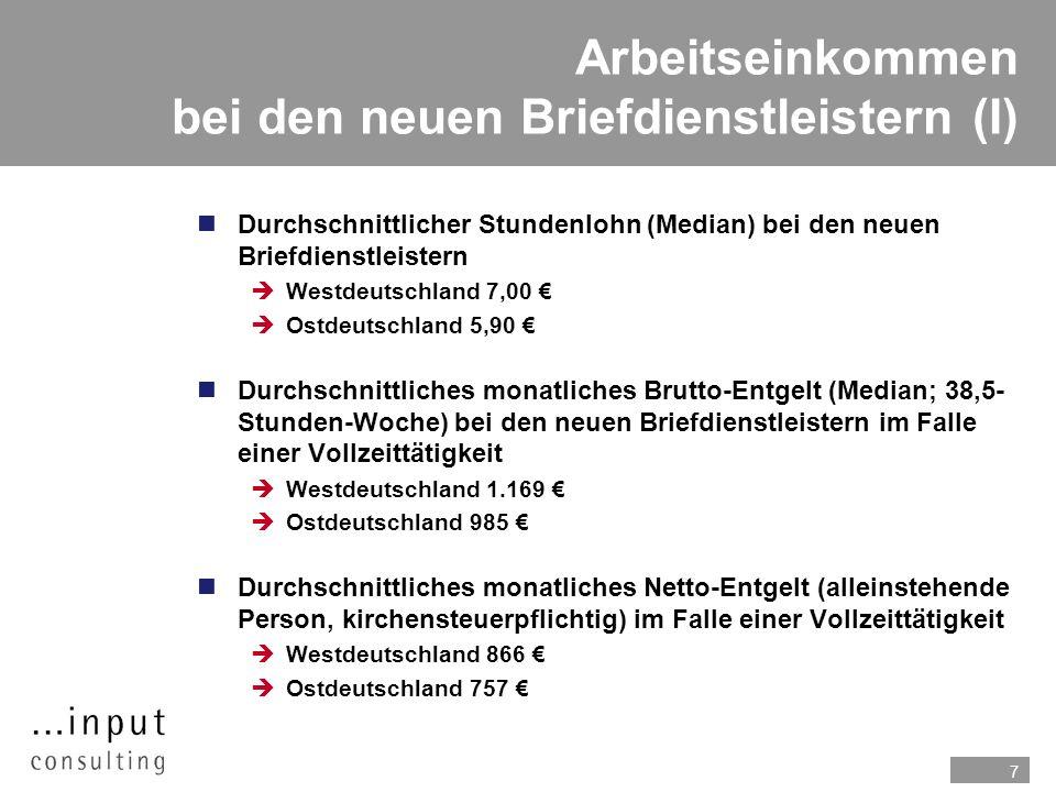 7 Arbeitseinkommen bei den neuen Briefdienstleistern (I) n Durchschnittlicher Stundenlohn (Median) bei den neuen Briefdienstleistern Westdeutschland 7,00 Ostdeutschland 5,90 n Durchschnittliches monatliches Brutto-Entgelt (Median; 38,5- Stunden-Woche) bei den neuen Briefdienstleistern im Falle einer Vollzeittätigkeit Westdeutschland 1.169 Ostdeutschland 985 Durchschnittliches monatliches Netto-Entgelt (alleinstehende Person, kirchensteuerpflichtig) im Falle einer Vollzeittätigkeit Westdeutschland 866 Ostdeutschland 757