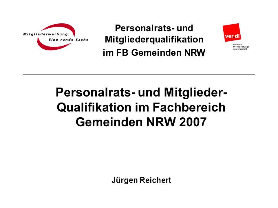 Personalrats- und Mitgliederqualifikation im FB Gemeinden NRW Personalrats- und Mitglieder- Qualifikation im Fachbereich Gemeinden NRW 2007 Jürgen Rei
