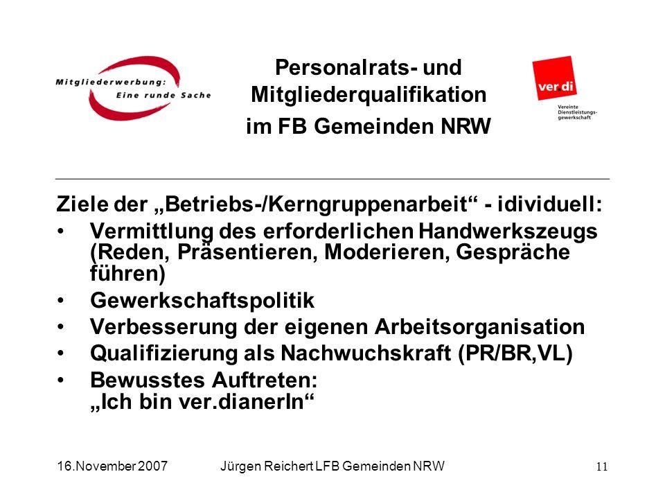 Personalrats- und Mitgliederqualifikation im FB Gemeinden NRW Jürgen Reichert LFB Gemeinden NRW16.November 2007 Ziele der Betriebs-/Kerngruppenarbeit
