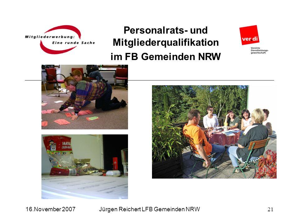 Personalrats- und Mitgliederqualifikation im FB Gemeinden NRW Jürgen Reichert LFB Gemeinden NRW16.November 200721