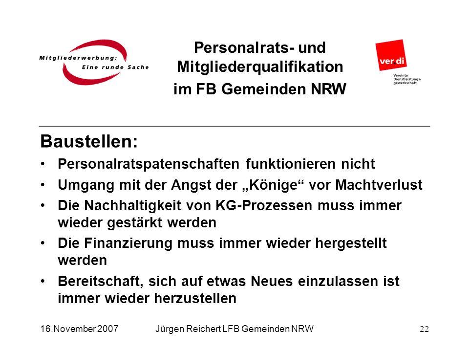 Personalrats- und Mitgliederqualifikation im FB Gemeinden NRW Jürgen Reichert LFB Gemeinden NRW Baustellen: Personalratspatenschaften funktionieren ni
