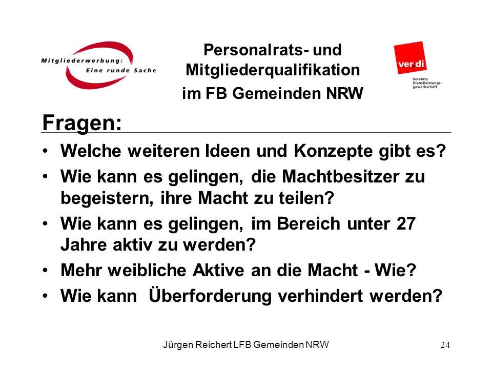 Personalrats- und Mitgliederqualifikation im FB Gemeinden NRW Fragen: Welche weiteren Ideen und Konzepte gibt es? Wie kann es gelingen, die Machtbesit