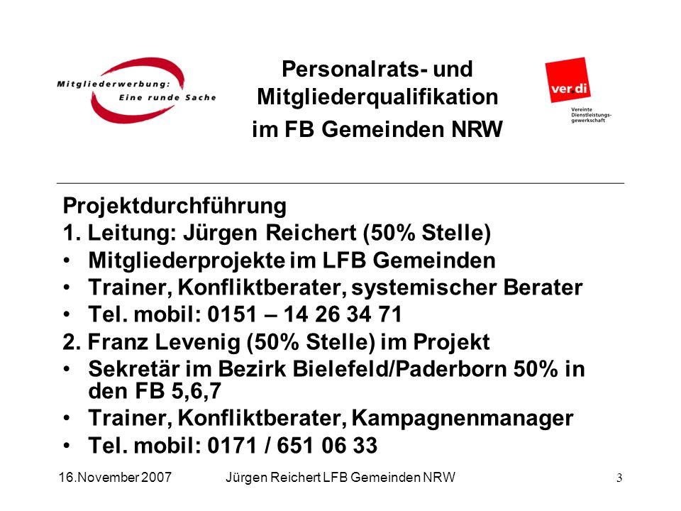 Personalrats- und Mitgliederqualifikation im FB Gemeinden NRW Jürgen Reichert LFB Gemeinden NRW16.November 2007 Projektdurchführung 1. Leitung: Jürgen