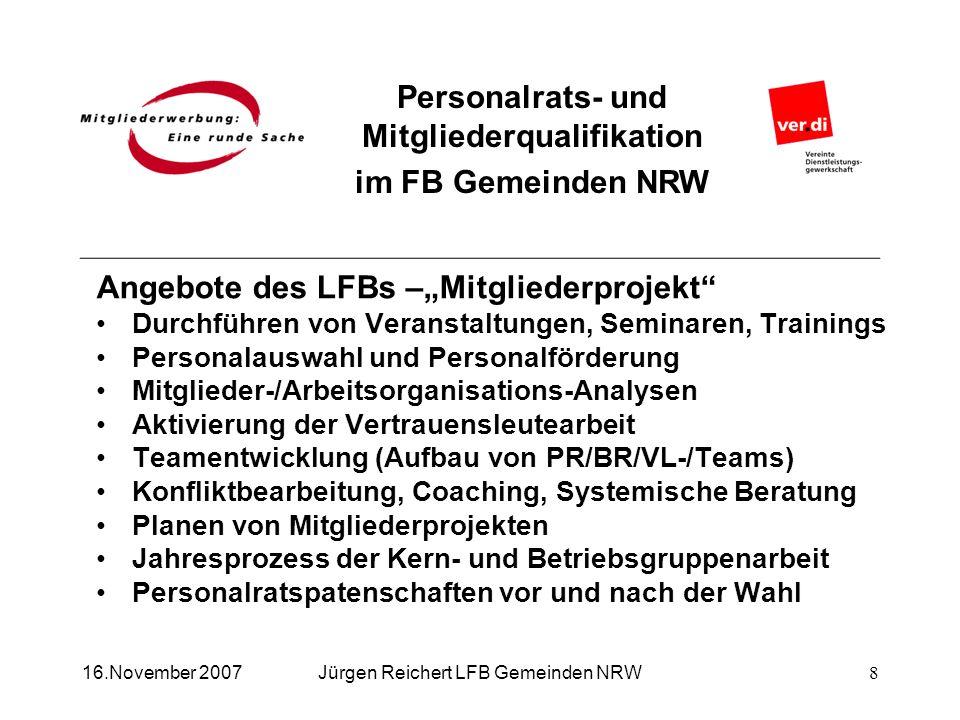 Personalrats- und Mitgliederqualifikation im FB Gemeinden NRW Jürgen Reichert LFB Gemeinden NRW16.November 2007 Angebote des LFBs –Mitgliederprojekt D