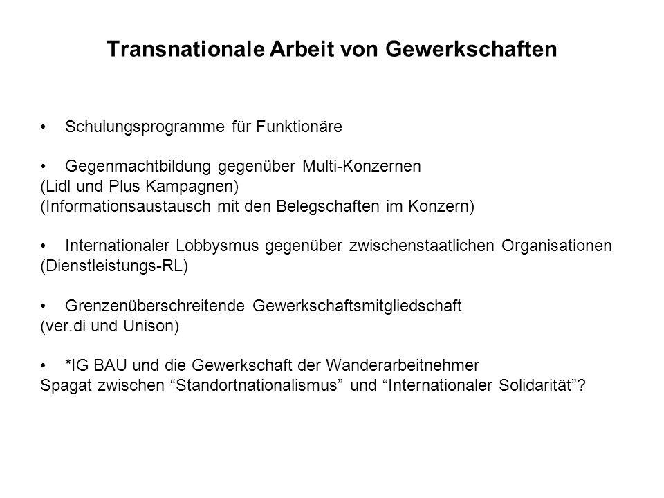 Transnationale Arbeit von Gewerkschaften Schulungsprogramme für Funktionäre Gegenmachtbildung gegenüber Multi-Konzernen (Lidl und Plus Kampagnen) (Inf