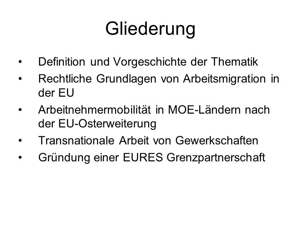 Gliederung Definition und Vorgeschichte der Thematik Rechtliche Grundlagen von Arbeitsmigration in der EU Arbeitnehmermobilität in MOE-Ländern nach de