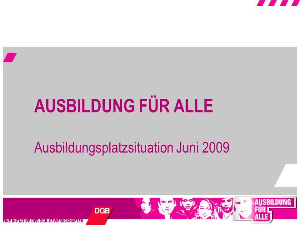 AUSBILDUNG FÜR ALLE Ausbildungsplatzsituation Juni 2009