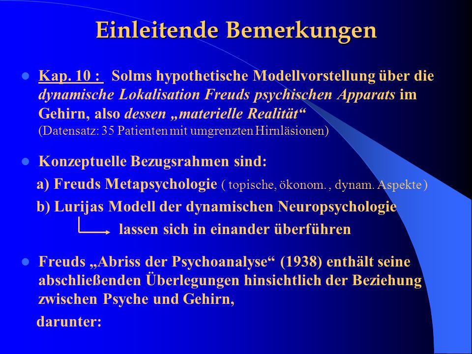 Einleitende Bemerkungen Kap. 10 : Solms hypothetische Modellvorstellung über die dynamische Lokalisation Freuds psychischen Apparats im Gehirn, also d