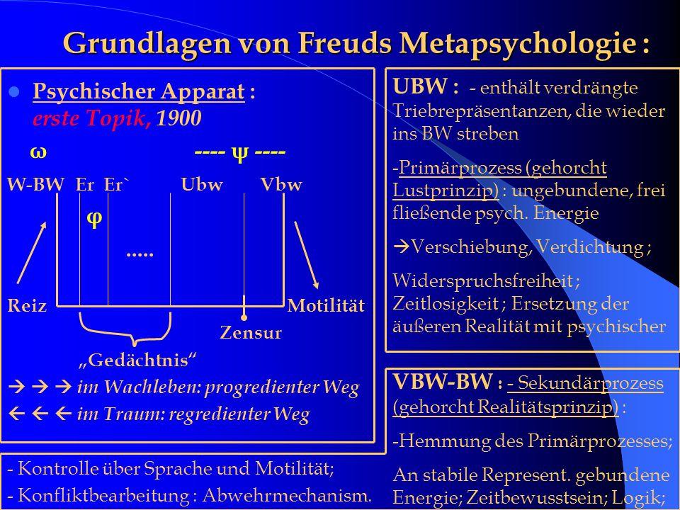 Grundlagen von Freuds Metapsychologie : Grundlagen von Freuds Metapsychologie : Psychischer Apparat : erste Topik, 1900 ω ---- ψ ---- W-BW Er Er` Ubw