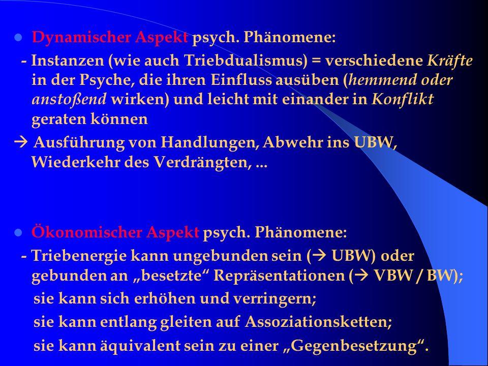 Dynamischer Aspekt psych. Phänomene: - Instanzen (wie auch Triebdualismus) = verschiedene Kräfte in der Psyche, die ihren Einfluss ausüben ( hemmend o
