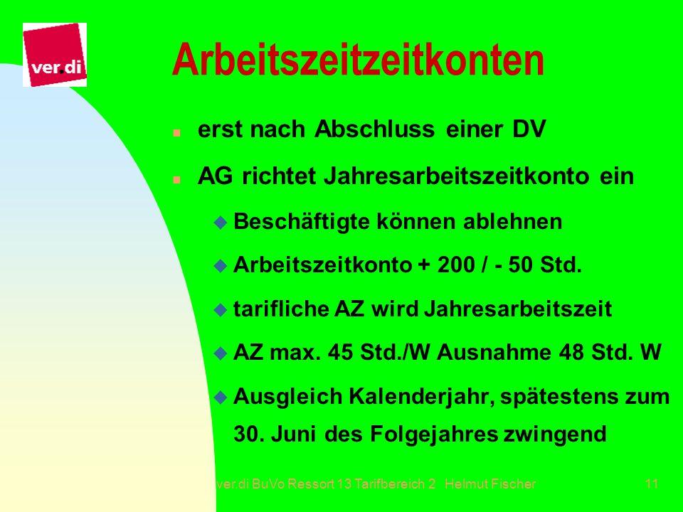 ver.di BuVo Ressort 13 Tarifbereich 2 Helmut Fischer11 Arbeitszeitzeitkonten n erst nach Abschluss einer DV n AG richtet Jahresarbeitszeitkonto ein u