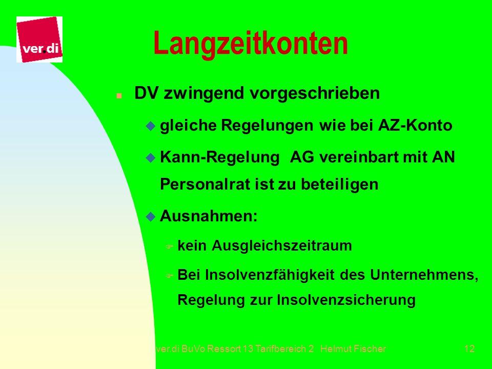 ver.di BuVo Ressort 13 Tarifbereich 2 Helmut Fischer12 Langzeitkonten n DV zwingend vorgeschrieben u gleiche Regelungen wie bei AZ-Konto u Kann-Regelu