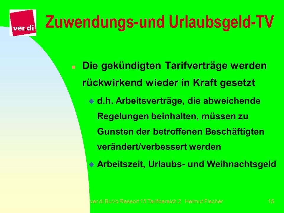 ver.di BuVo Ressort 13 Tarifbereich 2 Helmut Fischer15 Zuwendungs-und Urlaubsgeld-TV n Die gekündigten Tarifverträge werden rückwirkend wieder in Kraf