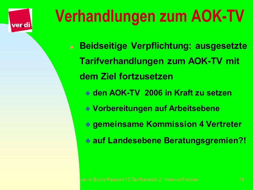 ver.di BuVo Ressort 13 Tarifbereich 2 Helmut Fischer18 Verhandlungen zum AOK-TV n Beidseitige Verpflichtung: ausgesetzte Tarifverhandlungen zum AOK-TV