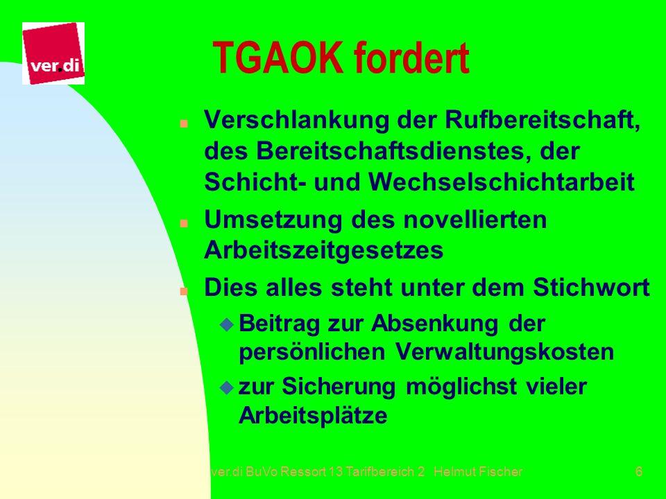 ver.di BuVo Ressort 13 Tarifbereich 2 Helmut Fischer6 TGAOK fordert n Verschlankung der Rufbereitschaft, des Bereitschaftsdienstes, der Schicht- und W