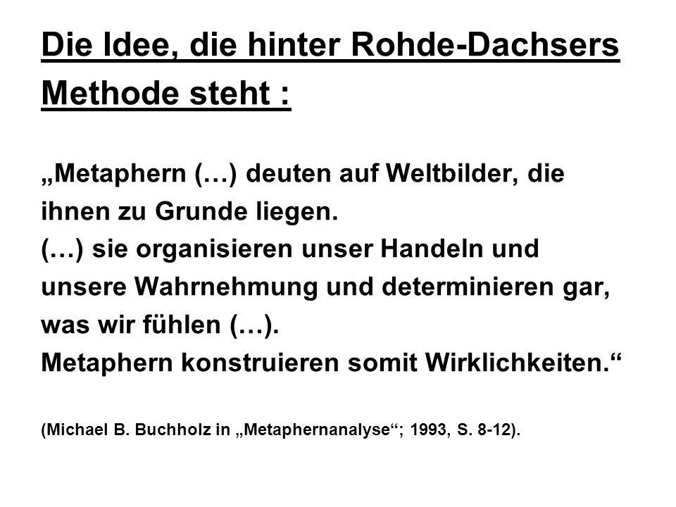 Die Idee, die hinter Rohde-Dachsers Methode steht : Metaphern (…) deuten auf Weltbilder, die ihnen zu Grunde liegen.