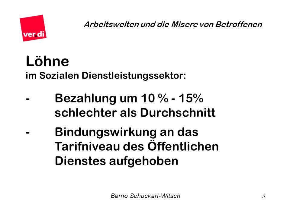 Berno Schuckart-Witsch 3 Arbeitswelten und die Misere von Betroffenen Löhne im Sozialen Dienstleistungssektor: -Bezahlung um 10 % - 15% schlechter als