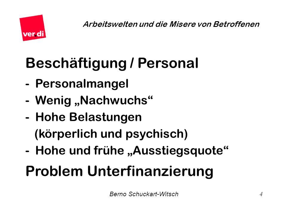 Berno Schuckart-Witsch 4 Arbeitswelten und die Misere von Betroffenen Beschäftigung / Personal - Personalmangel - Wenig Nachwuchs - Hohe Belastungen (