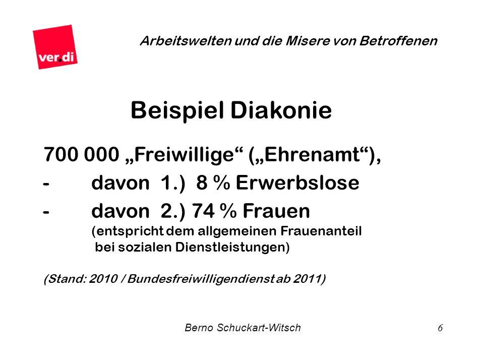 Berno Schuckart-Witsch 6 Arbeitswelten und die Misere von Betroffenen Beispiel Diakonie 700 000 Freiwillige (Ehrenamt), - davon 1.) 8 % Erwerbslose -