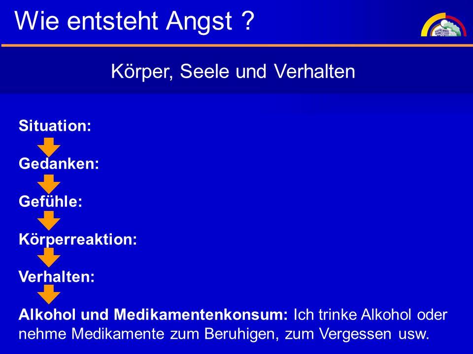Situation: Gedanken: Gefühle: Körperreaktion: Verhalten: Alkohol und Medikamentenkonsum: Ich trinke Alkohol oder nehme Medikamente zum Beruhigen, zum Vergessen usw.