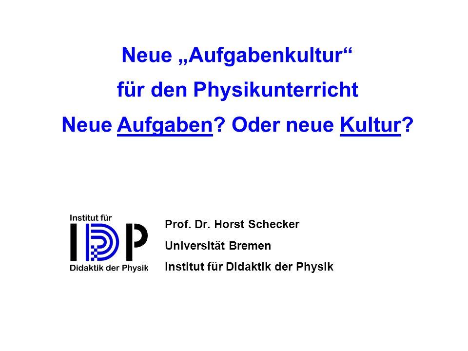 u Rote Punkte: Die Aufgabe entspricht besonders den Kriterien der neuen Aufgabenkultur u Blaue Punkte: Die Aufgabe ist besonders typisch für den deutschen Physikunterricht Sie können jeweils drei Punkte frei vergeben: z.B.