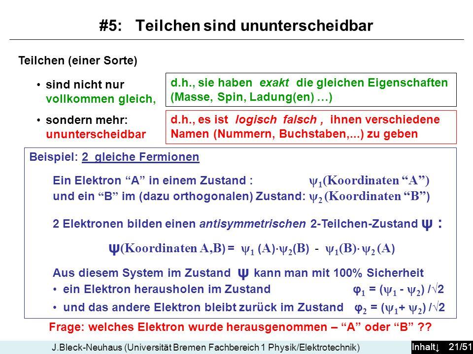 Inhalt 21/51 J.Bleck-Neuhaus (Universität Bremen Fachbereich 1 Physik/Elektrotechnik) Teilchen (einer Sorte) sind nicht nur vollkommen gleich, sondern mehr: ununterscheidbar Frage: welches Elektron wurde herausgenommen – A oder B ?.