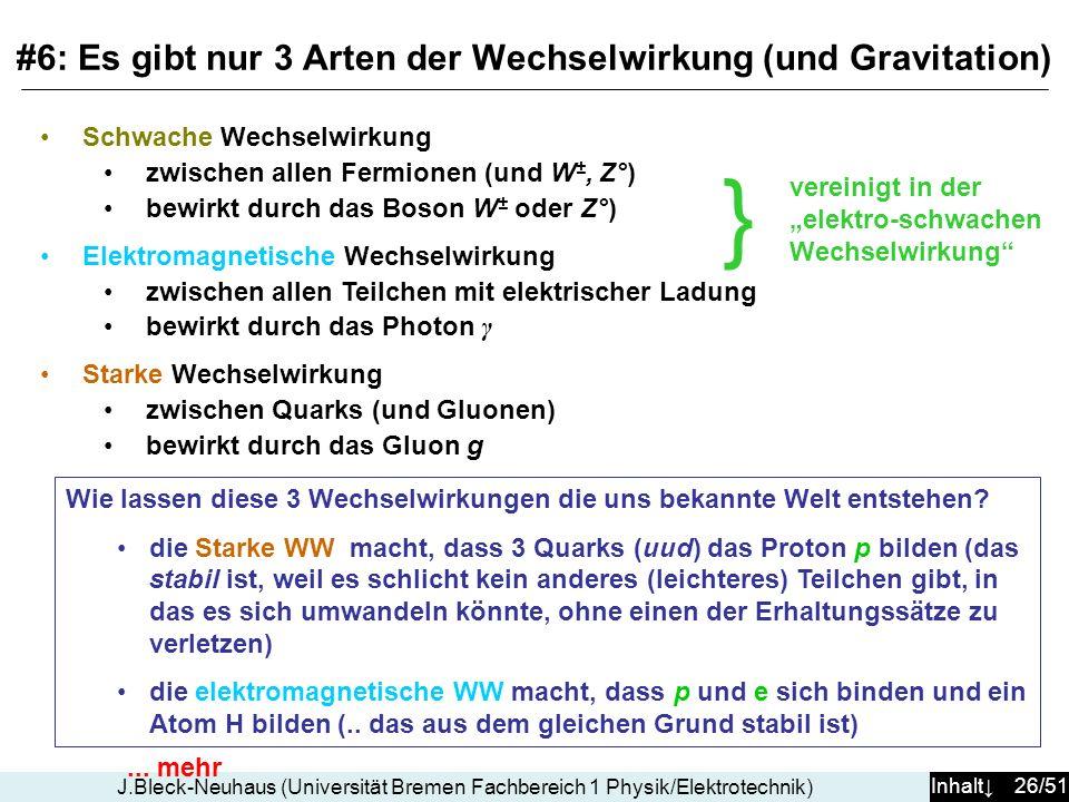 Inhalt 26/51 J.Bleck-Neuhaus (Universität Bremen Fachbereich 1 Physik/Elektrotechnik) Schwache Wechselwirkung zwischen allen Fermionen (und W ±, Z°) bewirkt durch das Boson W ± oder Z°) Elektromagnetische Wechselwirkung zwischen allen Teilchen mit elektrischer Ladung bewirkt durch das Photon γ Starke Wechselwirkung zwischen Quarks (und Gluonen) bewirkt durch das Gluon g Wie lassen diese 3 Wechselwirkungen die uns bekannte Welt entstehen.