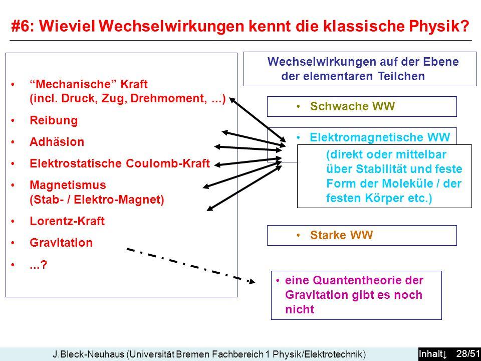 Inhalt 28/51 J.Bleck-Neuhaus (Universität Bremen Fachbereich 1 Physik/Elektrotechnik) Wechselwirkungen auf der Ebene der elementaren Teilchen Mechanische Kraft (incl.