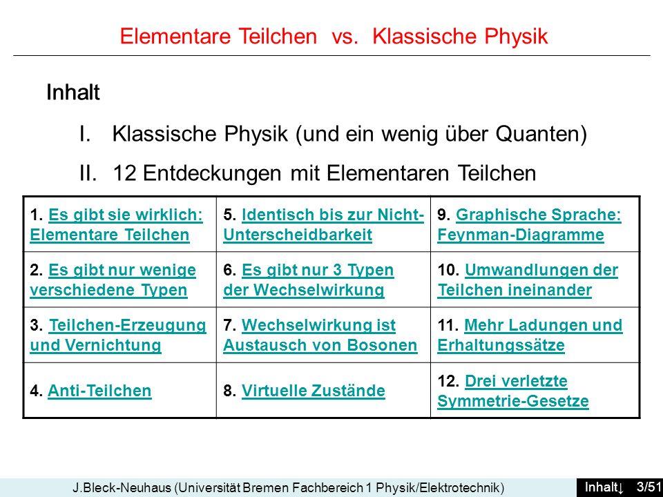 Inhalt 34/51 J.Bleck-Neuhaus (Universität Bremen Fachbereich 1 Physik/Elektrotechnik) Lösung : eine der 3 Linien im Diagramm gehört zu einem virtuellen Zustandl reale Welt: virtuelle Welt: notwendige Folge der Relativitäts- Theorie Problem: der fundamentale Prozess der QED....