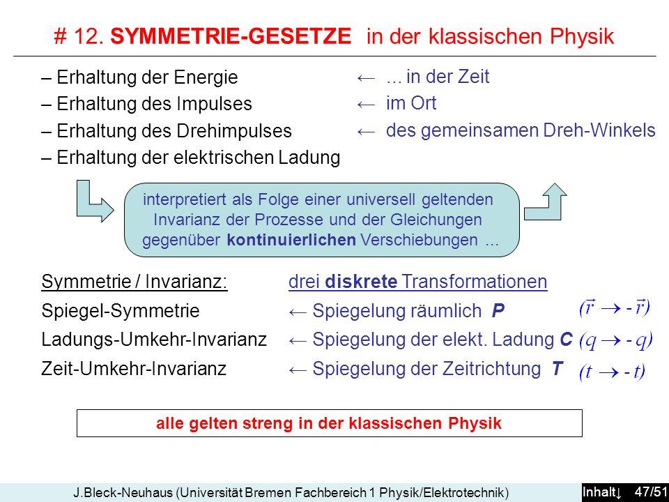 Inhalt 47/51 J.Bleck-Neuhaus (Universität Bremen Fachbereich 1 Physik/Elektrotechnik) # 12.