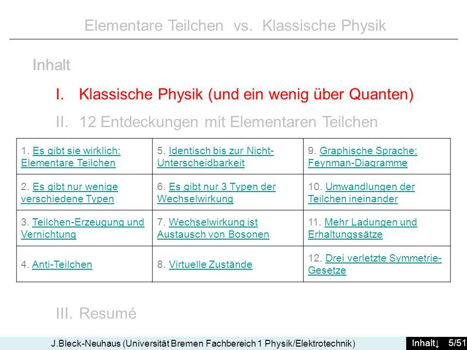 Inhalt 46/51 J.Bleck-Neuhaus (Universität Bremen Fachbereich 1 Physik/Elektrotechnik) Elementare Teilchen vs.