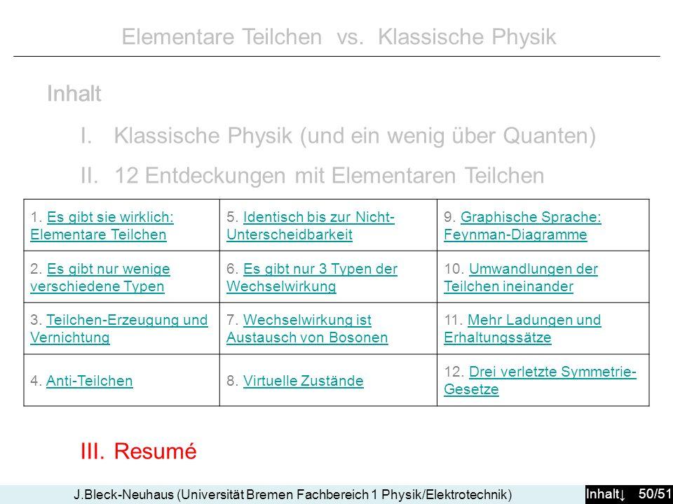 Inhalt 50/51 J.Bleck-Neuhaus (Universität Bremen Fachbereich 1 Physik/Elektrotechnik) Elementare Teilchen vs.