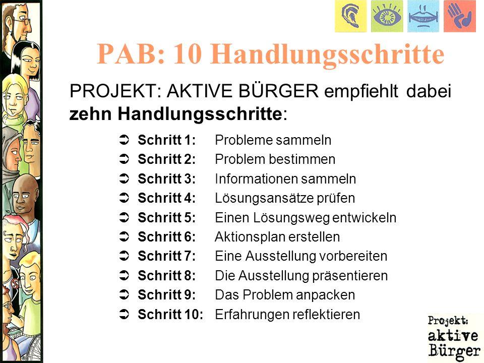 PAB: 10 Handlungsschritte PROJEKT: AKTIVE BÜRGER empfiehlt dabei zehn Handlungsschritte: Schritt 1:Probleme sammeln Schritt 2:Problem bestimmen Schrit