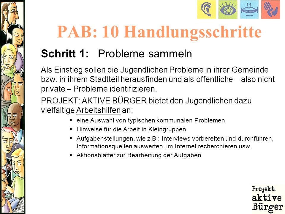 PAB: 10 Handlungsschritte Schritt 1:Probleme sammeln Als Einstieg sollen die Jugendlichen Probleme in ihrer Gemeinde bzw. in ihrem Stadtteil herausfin
