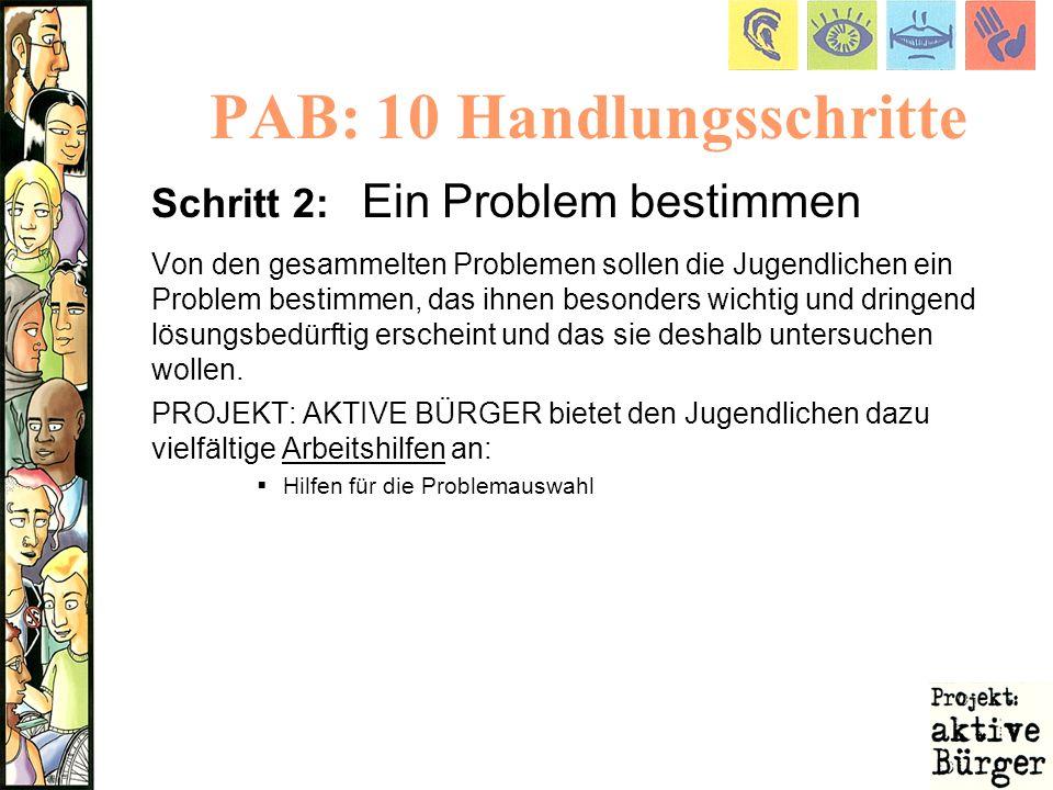 PAB: 10 Handlungsschritte Schritt 2: Ein Problem bestimmen Von den gesammelten Problemen sollen die Jugendlichen ein Problem bestimmen, das ihnen beso