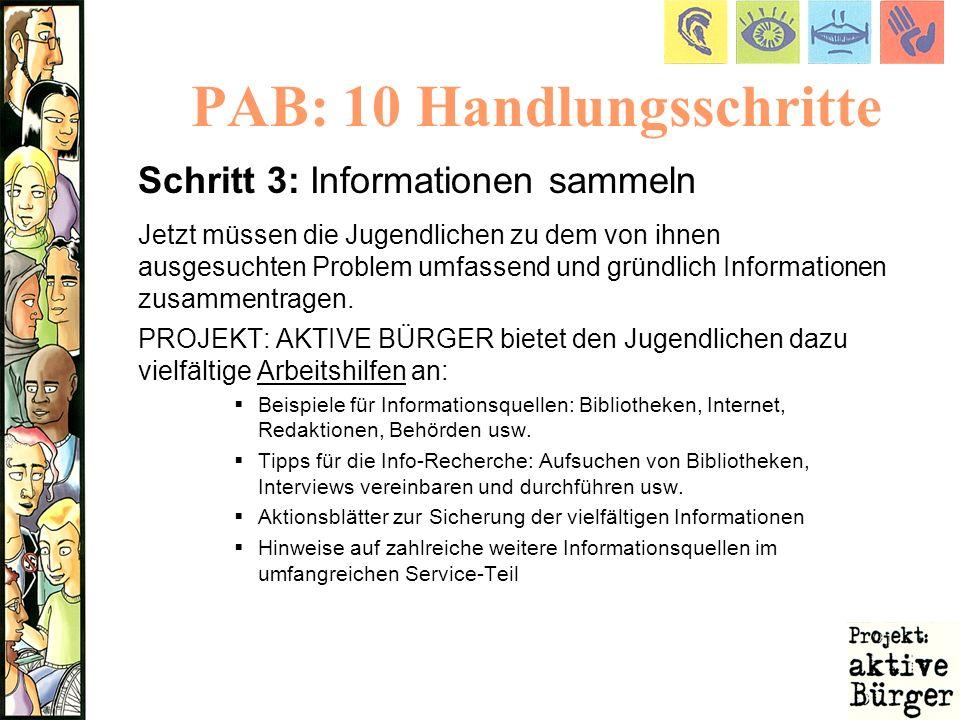 PAB: 10 Handlungsschritte Schritt 3: Informationen sammeln Jetzt müssen die Jugendlichen zu dem von ihnen ausgesuchten Problem umfassend und gründlich