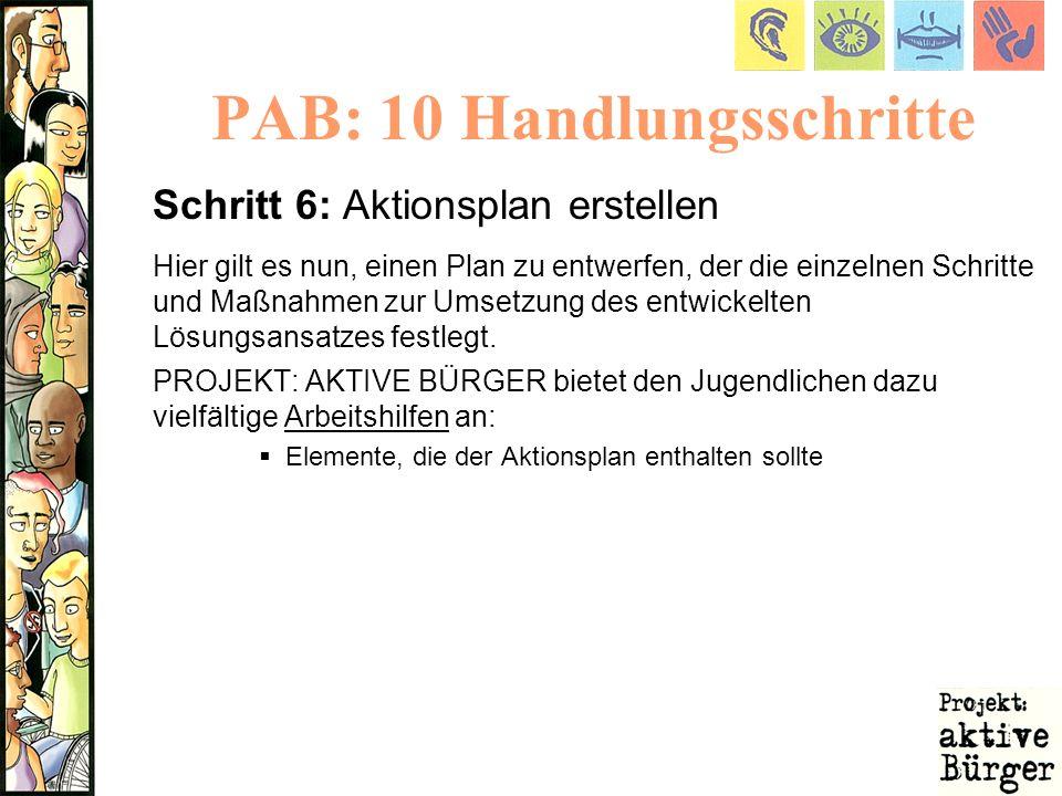PAB: 10 Handlungsschritte Schritt 6: Aktionsplan erstellen Hier gilt es nun, einen Plan zu entwerfen, der die einzelnen Schritte und Maßnahmen zur Ums