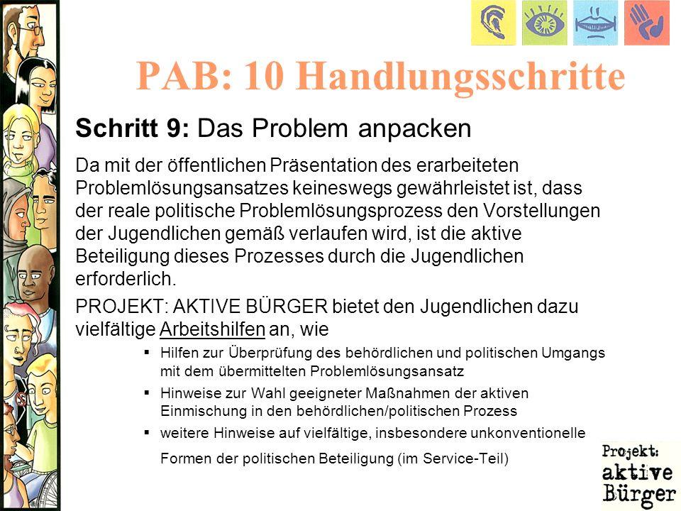 PAB: 10 Handlungsschritte Schritt 9: Das Problem anpacken Da mit der öffentlichen Präsentation des erarbeiteten Problemlösungsansatzes keineswegs gewä