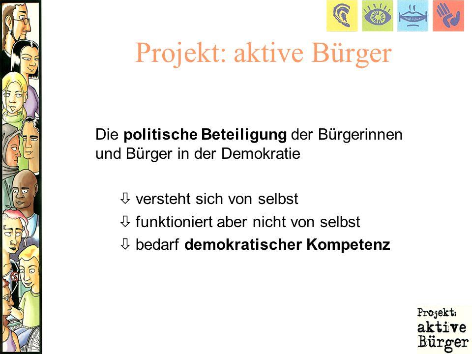 Projekt: aktive Bürger Die politische Beteiligung der Bürgerinnen und Bürger in der Demokratie ò versteht sich von selbst ò funktioniert aber nicht vo