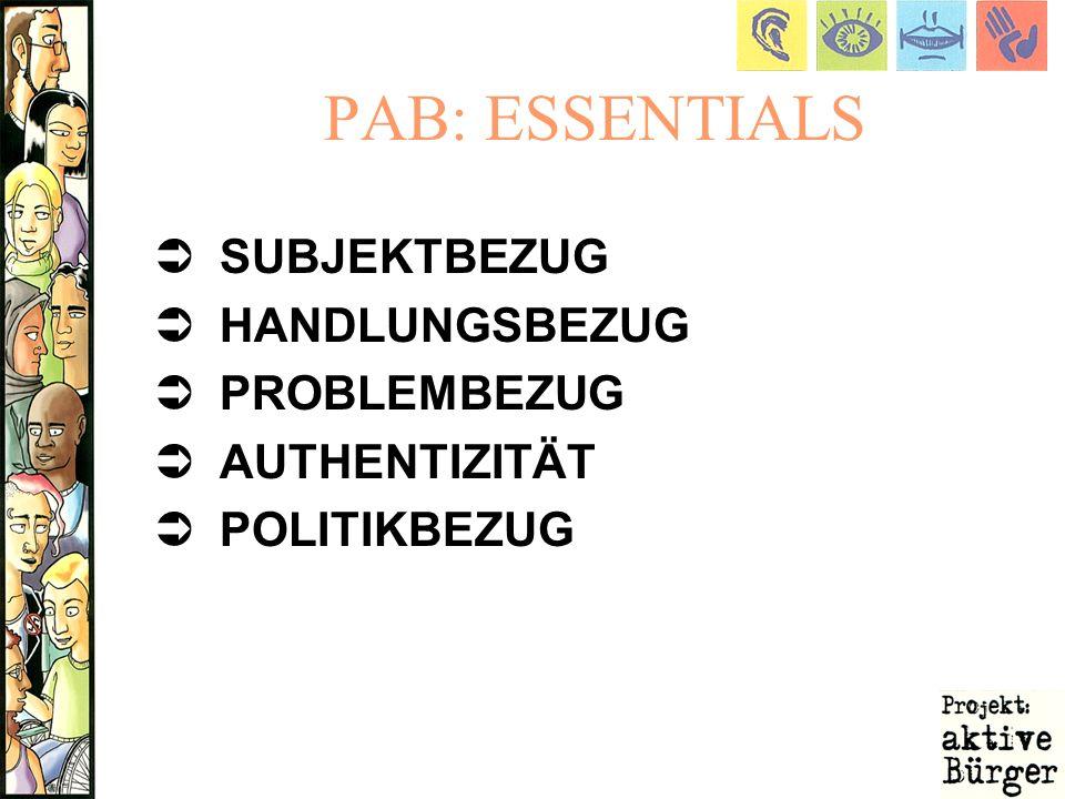 PAB: ESSENTIALS SUBJEKTBEZUG HANDLUNGSBEZUG PROBLEMBEZUG AUTHENTIZITÄT POLITIKBEZUG