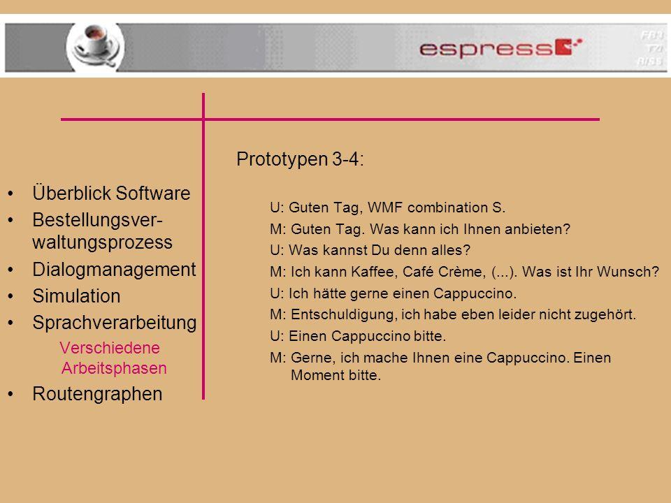 Überblick Software Bestellungsver- waltungsprozess Dialogmanagement Simulation Sprachverarbeitung Verschiedene Arbeitsphasen Routengraphen Prototypen 3-4: U: Guten Tag, WMF combination S.