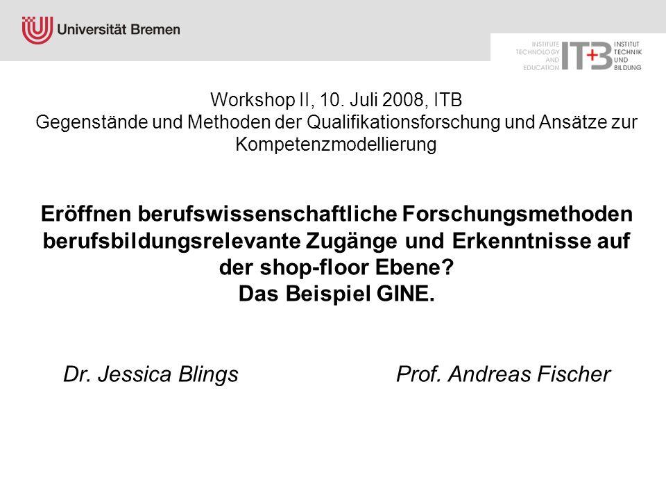 Jessica Blings Workshop II, 10. Juli 2008, ITB Gegenstände und Methoden der Qualifikationsforschung und Ansätze zur Kompetenzmodellierung Eröffnen ber