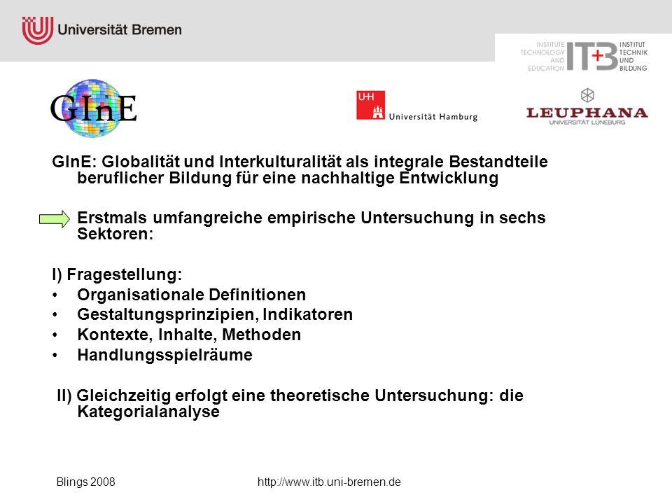 Blings 2008http://www.itb.uni-bremen.de GInE: Globalität und Interkulturalität als integrale Bestandteile beruflicher Bildung für eine nachhaltige Ent