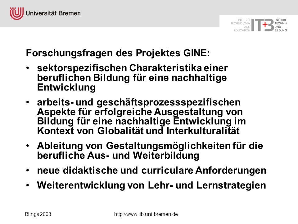 Blings 2008http://www.itb.uni-bremen.de Forschungsfragen des Projektes GINE: sektorspezifischen Charakteristika einer beruflichen Bildung für eine nac