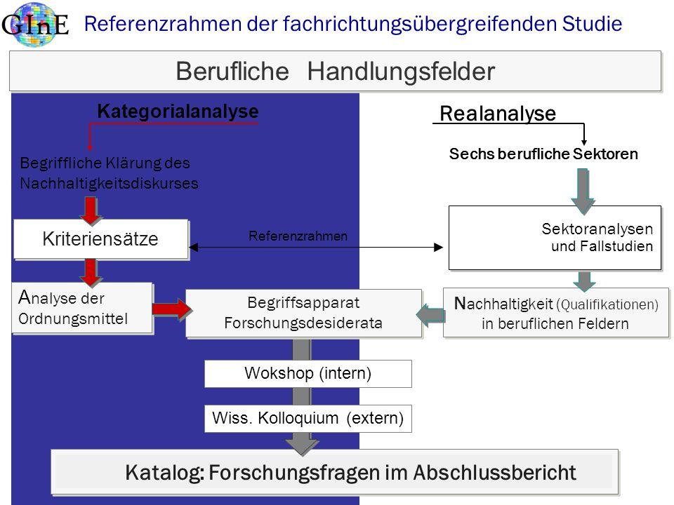 Blings 2008http://www.itb.uni-bremen.de Berufliche Handlungsfelder Kriteriensätze Begriffliche Klärung des Nachhaltigkeitsdiskurses A nalyse der Ordnu
