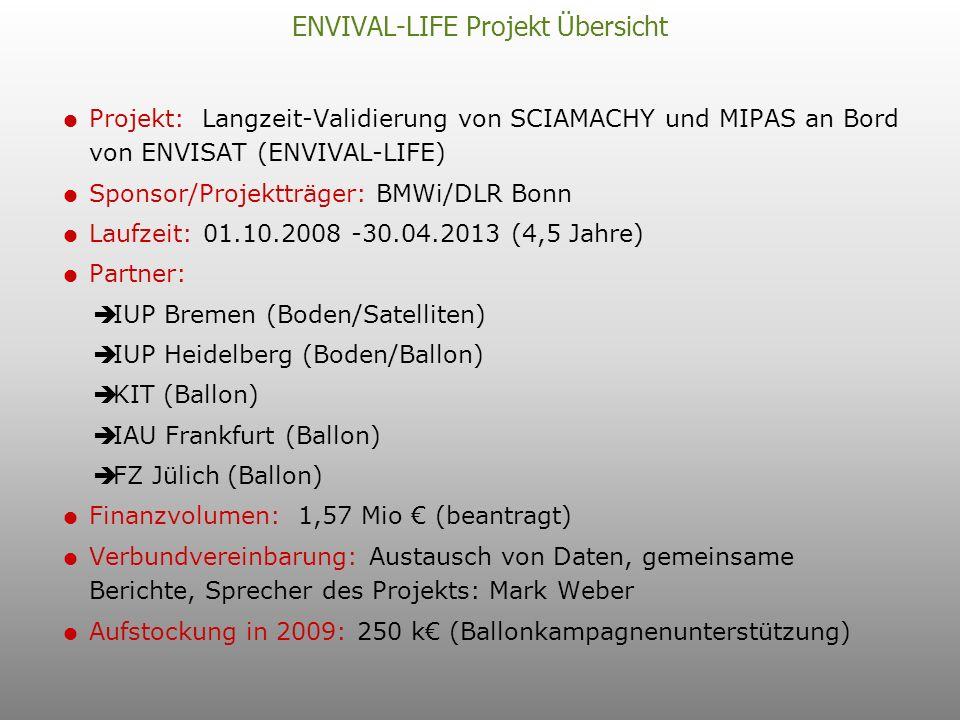 ENVIVAL-LIFE Projekt Übersicht Projekt: Langzeit-Validierung von SCIAMACHY und MIPAS an Bord von ENVISAT (ENVIVAL-LIFE) Sponsor/Projektträger: BMWi/DLR Bonn Laufzeit: 01.10.2008 -30.04.2013 (4,5 Jahre) Partner: IUP Bremen (Boden/Satelliten) IUP Heidelberg (Boden/Ballon) KIT (Ballon) IAU Frankfurt (Ballon) FZ Jülich (Ballon) Finanzvolumen: 1,57 Mio (beantragt) Verbundvereinbarung: Austausch von Daten, gemeinsame Berichte, Sprecher des Projekts: Mark Weber Aufstockung in 2009: 250 k (Ballonkampagnenunterstützung)